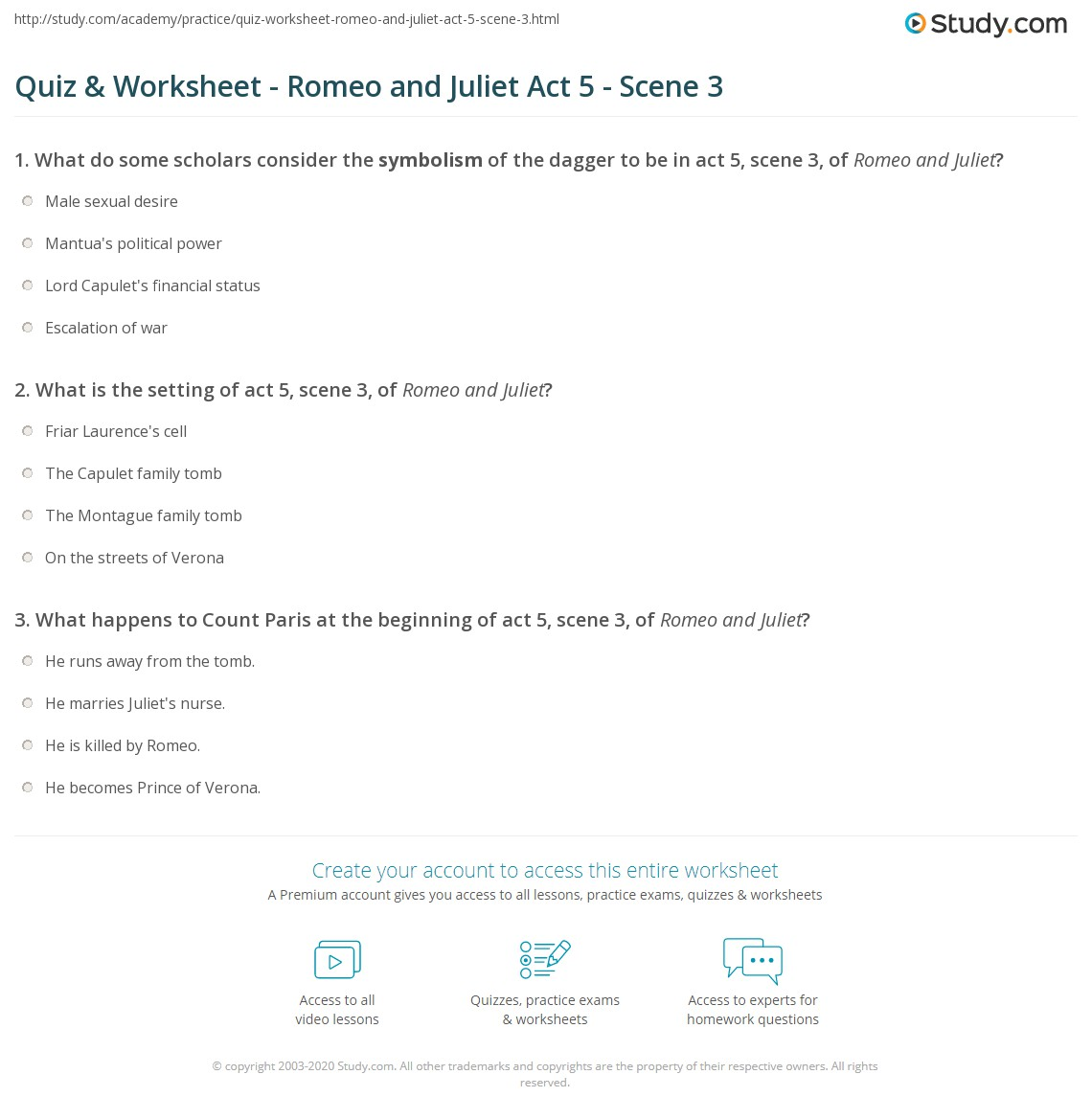 Quiz & Worksheet - Romeo and Juliet Act 5 - Scene 3 | Study.com