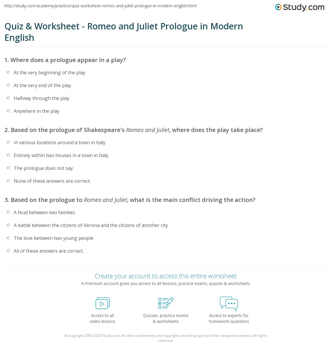 Quiz Worksheet Romeo and Juliet Prologue in Modern English – Romeo and Juliet Worksheet