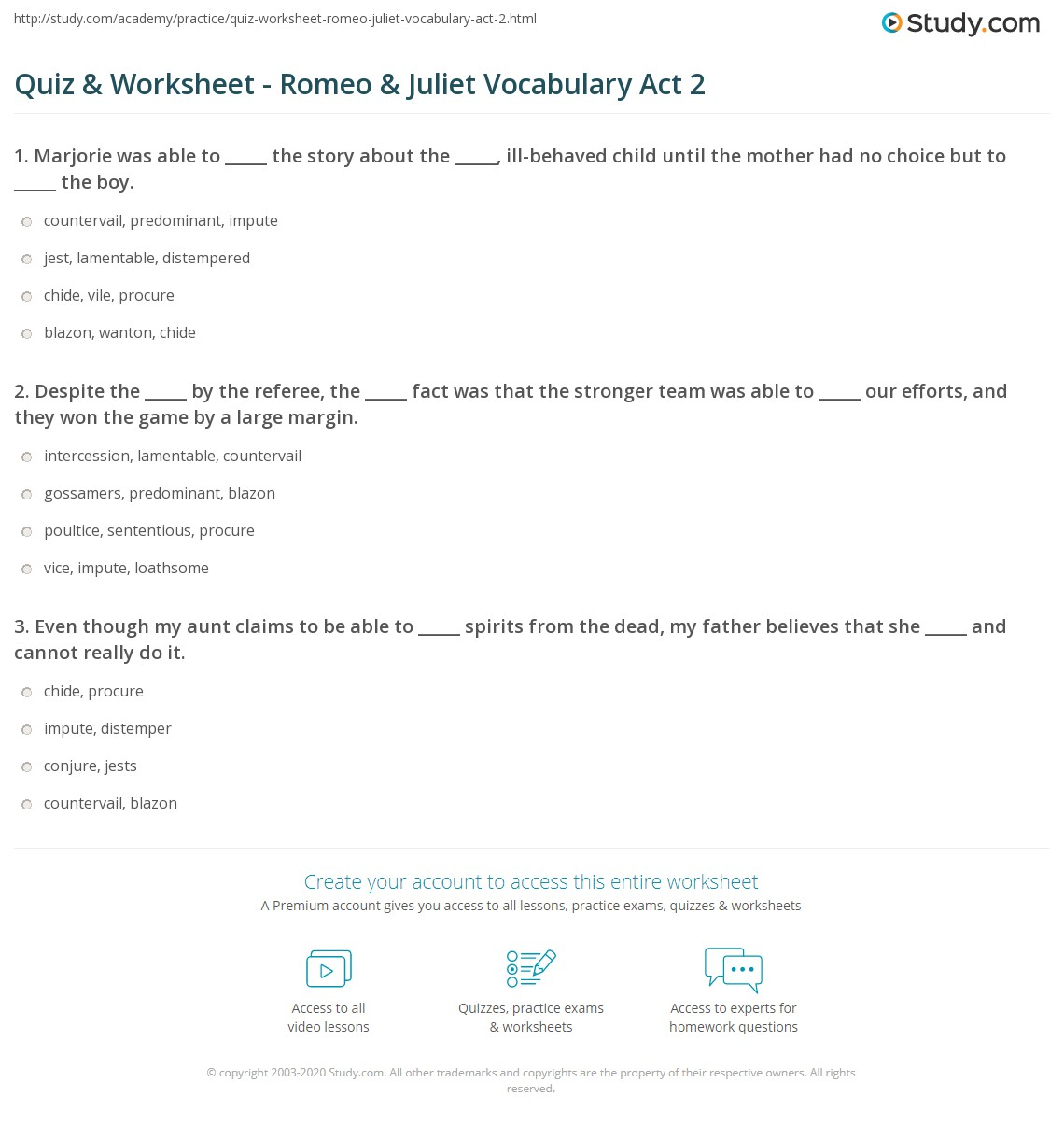 quiz worksheet romeo juliet vocabulary act com print romeo and juliet vocabulary act 2 worksheet