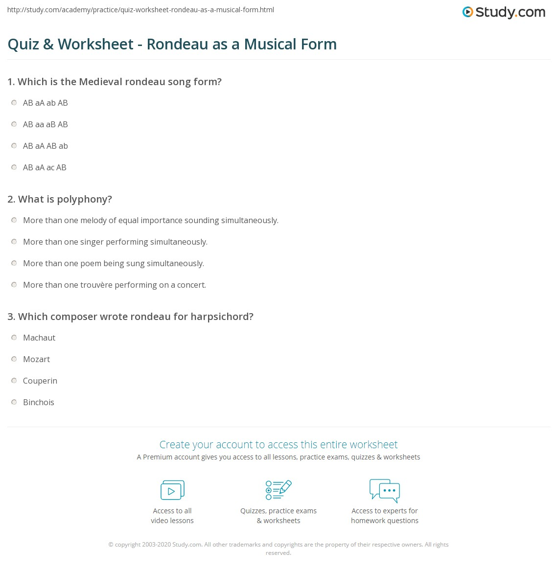 Quiz & Worksheet - Rondeau as a Musical Form | Study.com