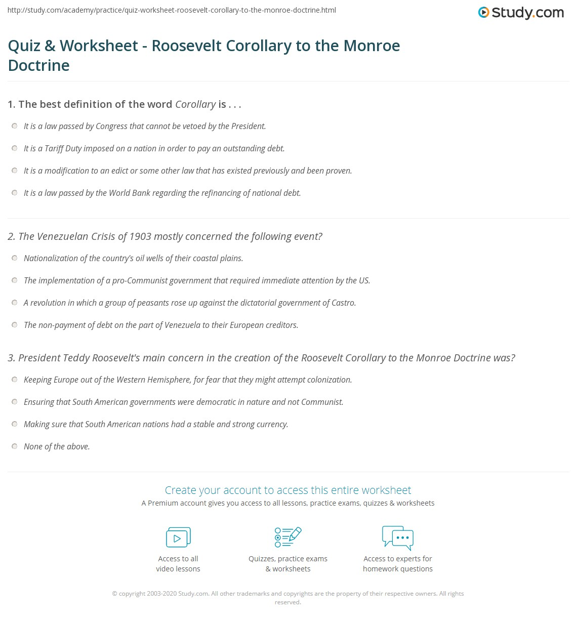 Quiz Worksheet Roosevelt Corollary to the Monroe Doctrine – Monroe Doctrine Worksheet