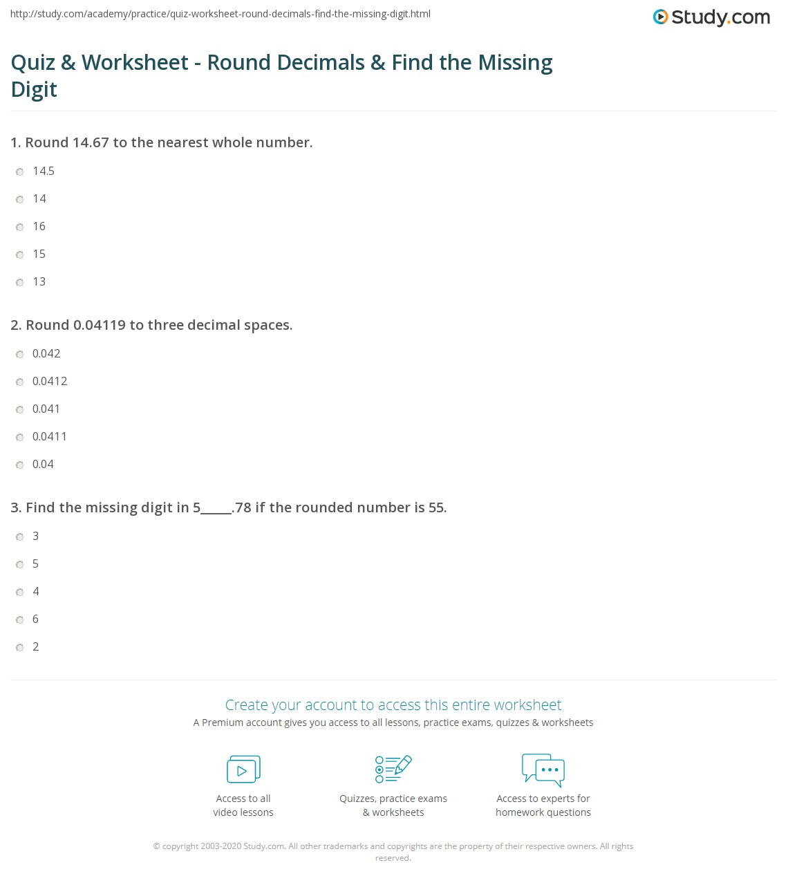 math worksheet : quiz  worksheet  round decimals  find the missing digit  study  : Rounding Decimals To Whole Numbers Worksheet