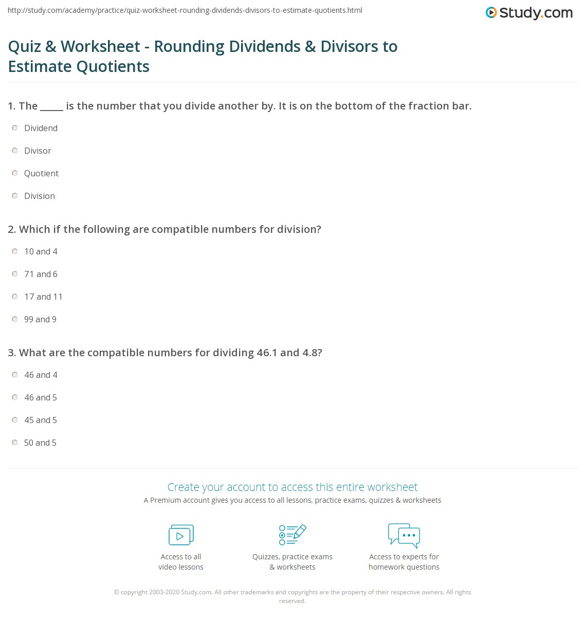 Uncategorized Compatible Numbers Worksheet quiz worksheet rounding dividends divisors to estimate which if the following are compatible numbers for division