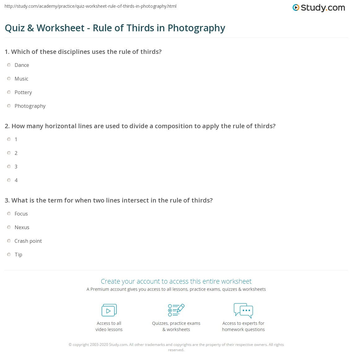 Printables Photography Worksheets quiz worksheet rule of thirds in photography study com print definition examples worksheet