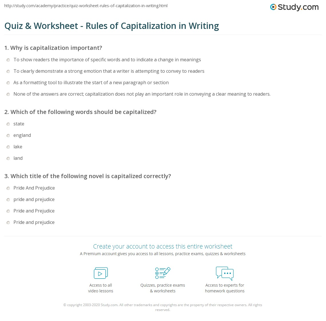 worksheet Capitalization Practice Worksheets quiz worksheet rules of capitalization in writing study com print worksheet