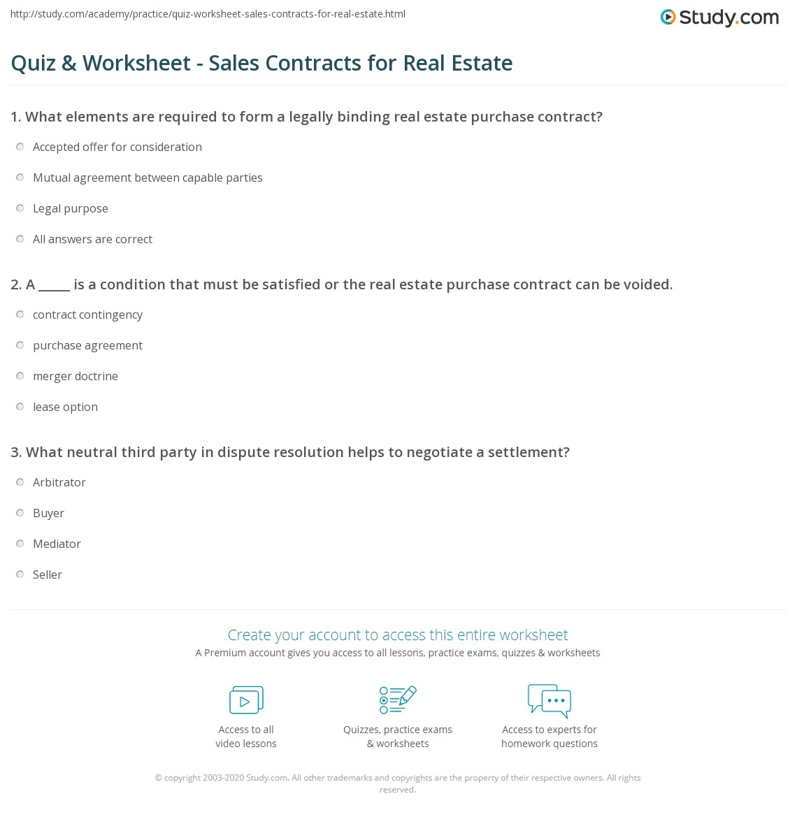 Quiz Worksheet Sales Contracts for Real Estate – Sales Contracts