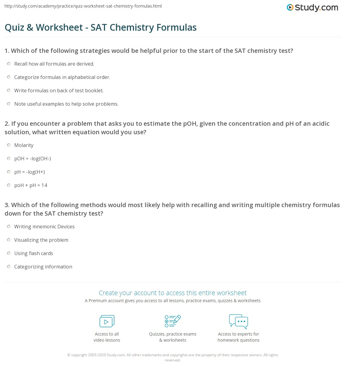 Quiz Worksheet SAT Chemistry Formulas – Chemical Formulas Worksheet