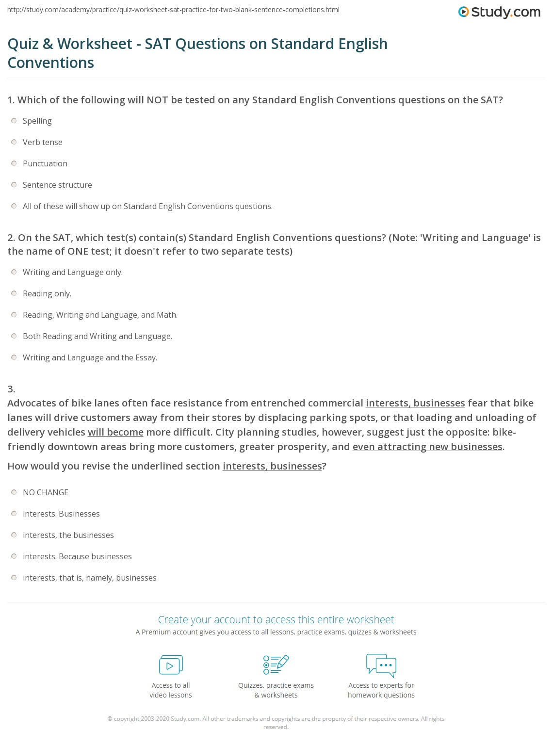 Quiz Worksheet SAT Questions on Standard English Conventions – Writing Conventions Worksheets