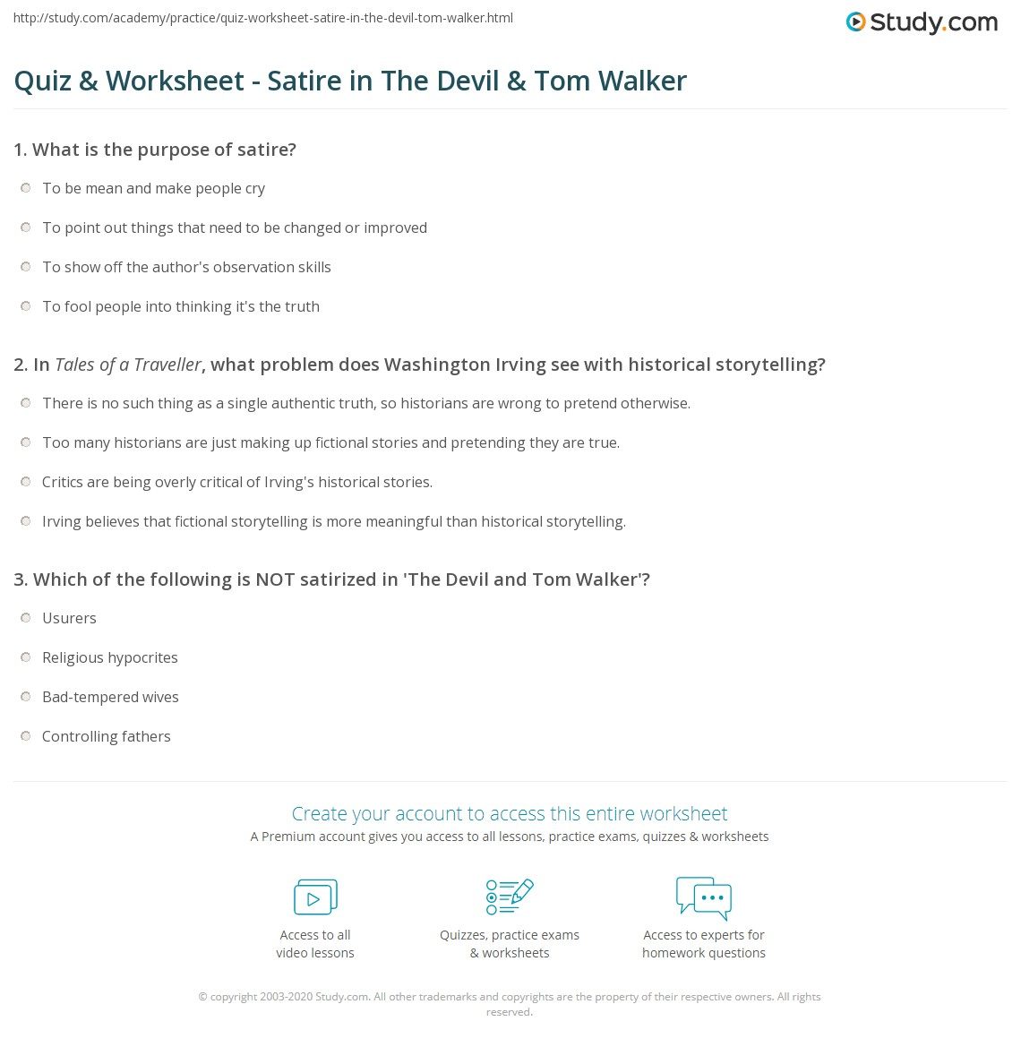 Printables The Devil And Tom Walker Worksheet quiz worksheet satire in the devil tom walker study com print worksheet