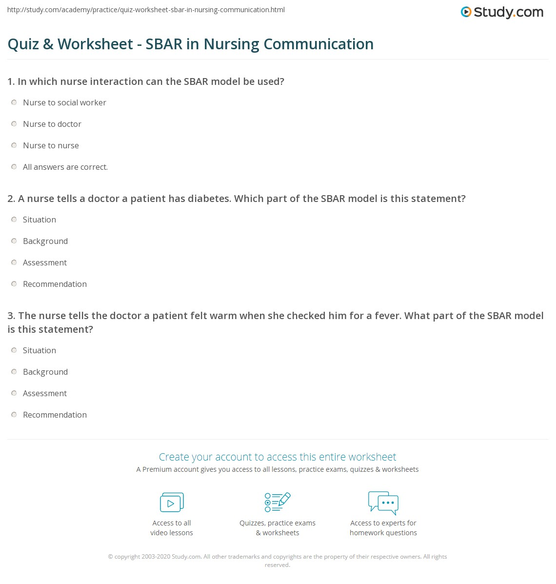 Quiz Worksheet SBAR in Nursing Communication – Nursing Worksheets