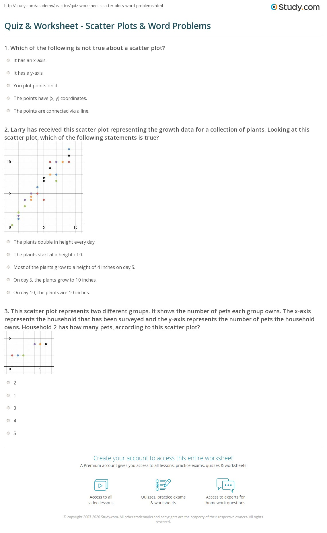 Quiz Worksheet Scatter Plots Word Problems – Scatter Plot Worksheet