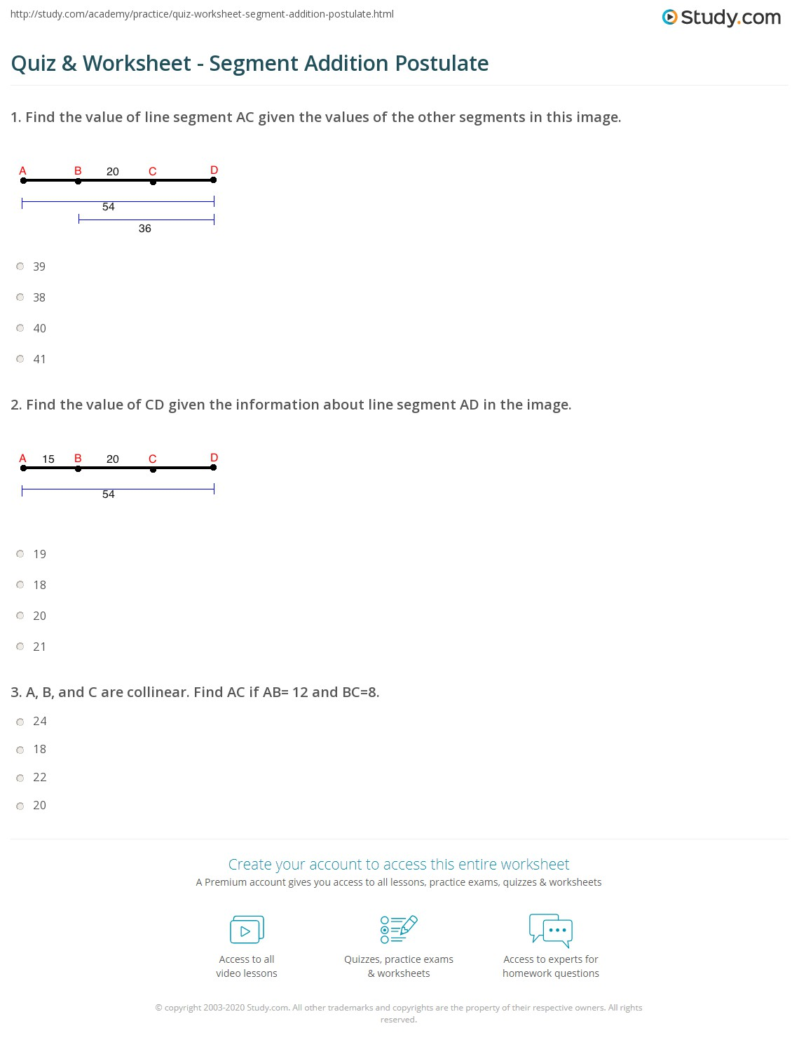 {Quiz and Worksheet Segment Addition Postulate – Segment Addition Worksheet