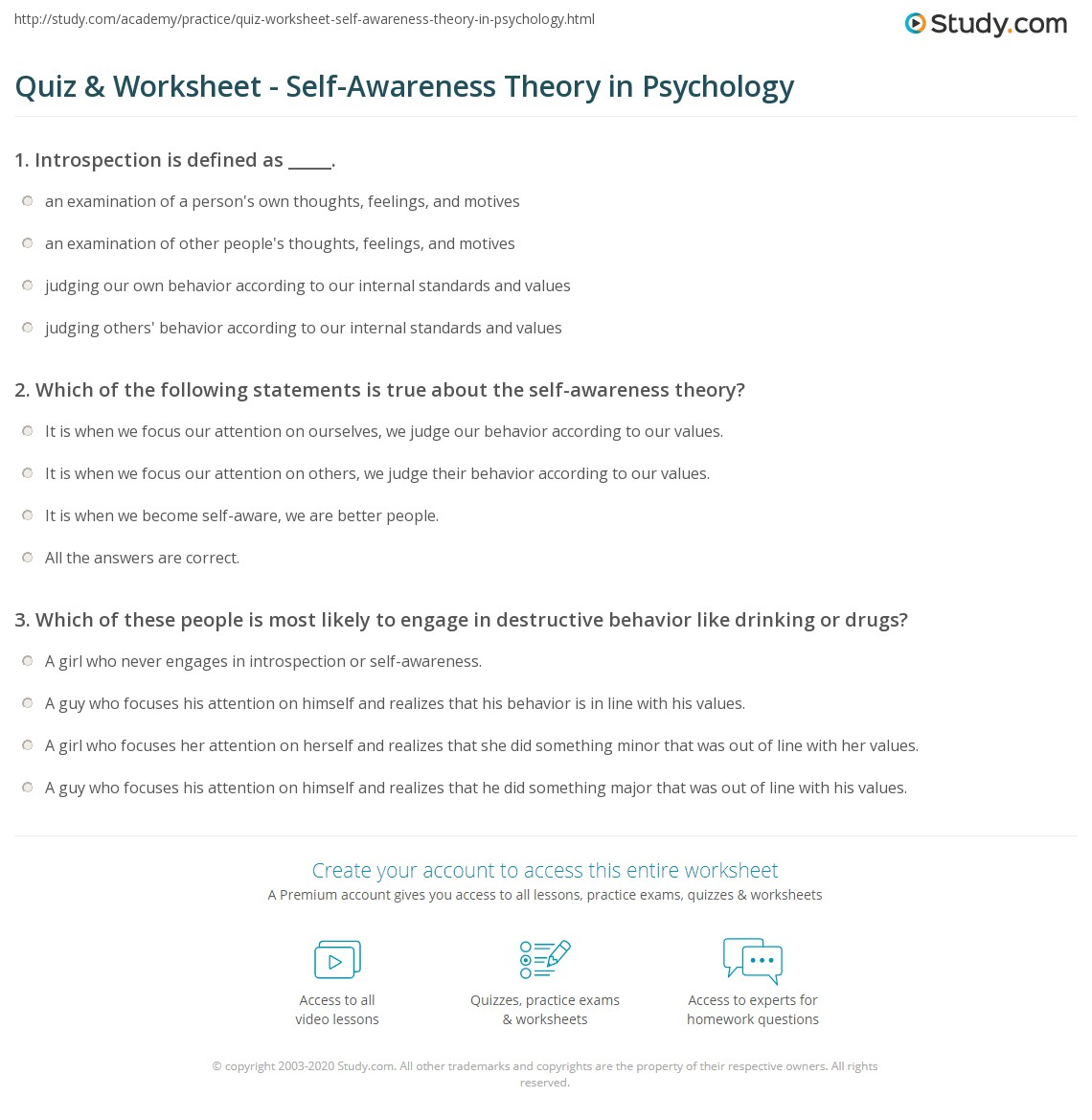 Quiz & Worksheet - Self-Awareness Theory in Psychology | Study.com