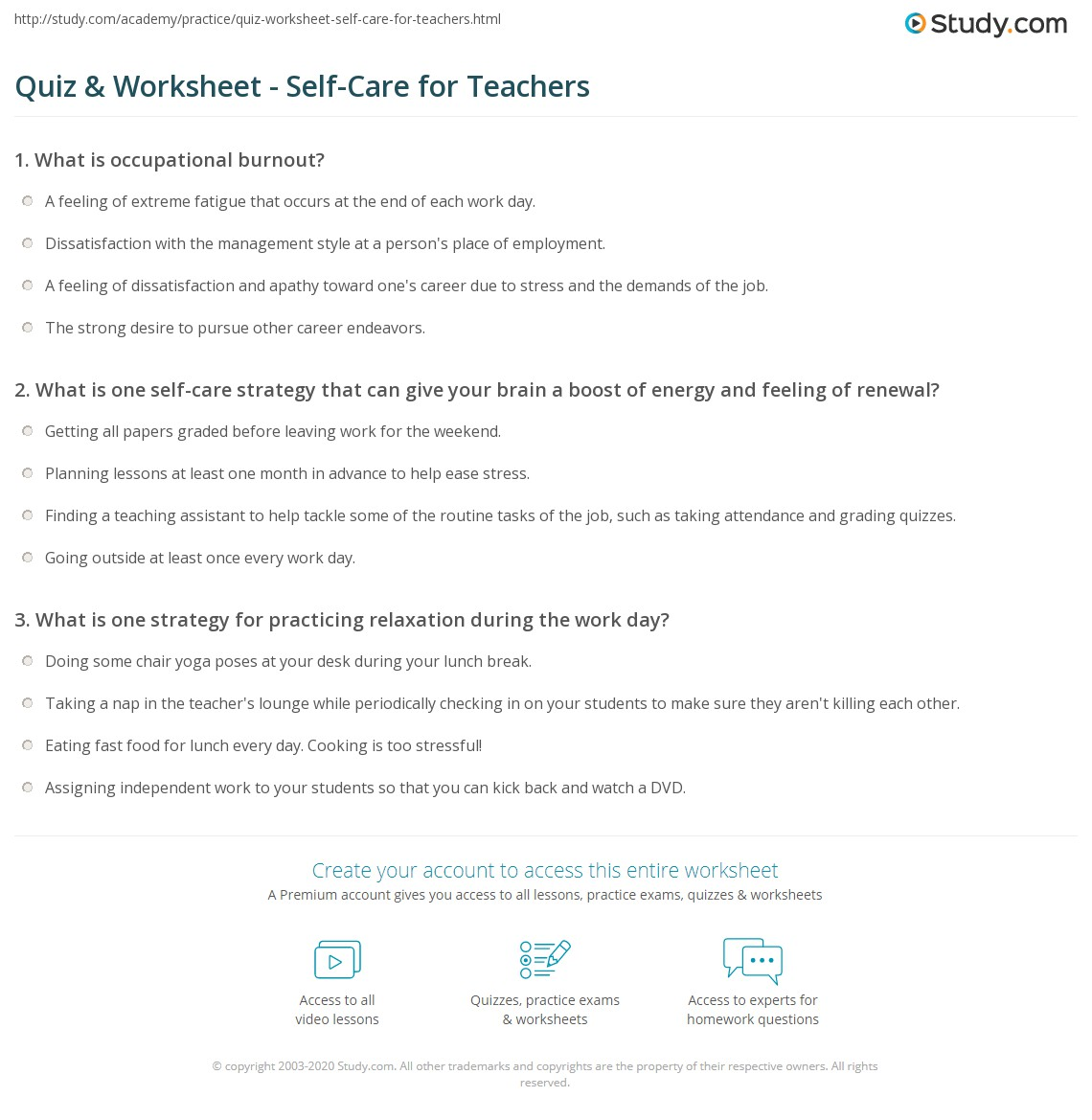 Quiz Worksheet SelfCare for Teachers – Teachers Worksheet
