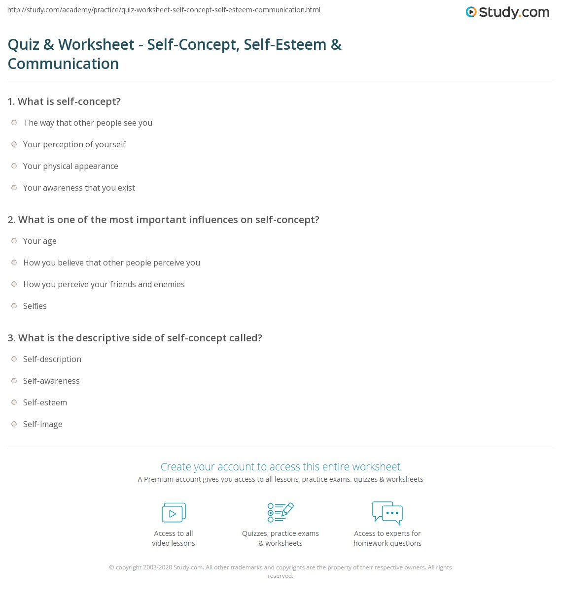 Quiz Worksheet SelfConcept SelfEsteem Communication – Printable Self Esteem Worksheets