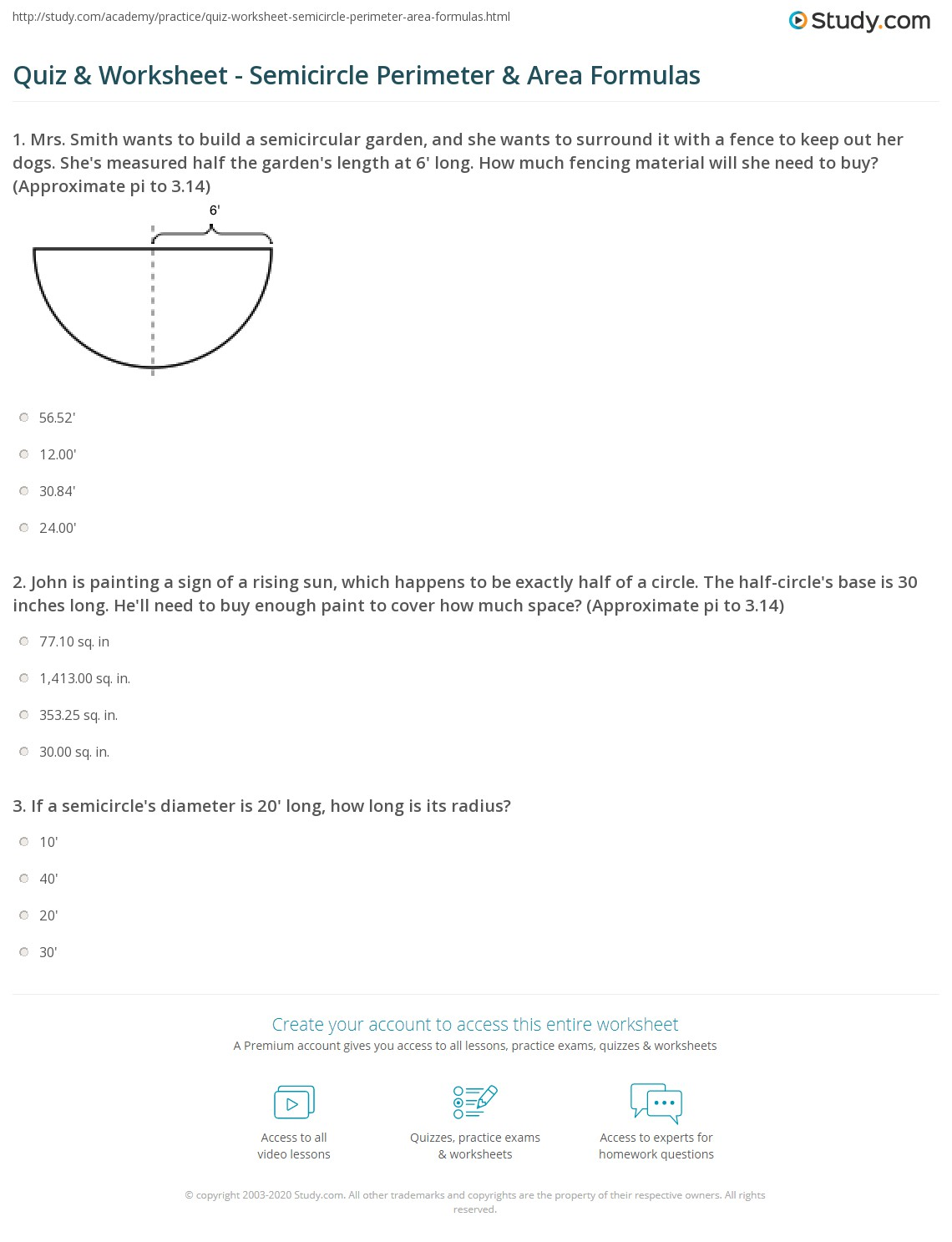 Quiz worksheet semicircle perimeter area formulas study 1 john is painting a sign of a rising sun which happens to be exactly half of a circle the half circles base is 30 inches long hell need to buy enough ccuart Image collections