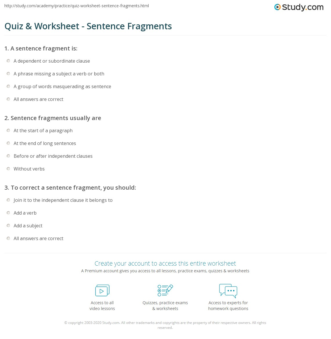 Quiz & Worksheet - Sentence Fragments  Study.com free worksheets, learning, alphabet worksheets, and grade worksheets Free Sentence Correction Worksheets 1149 x 1140
