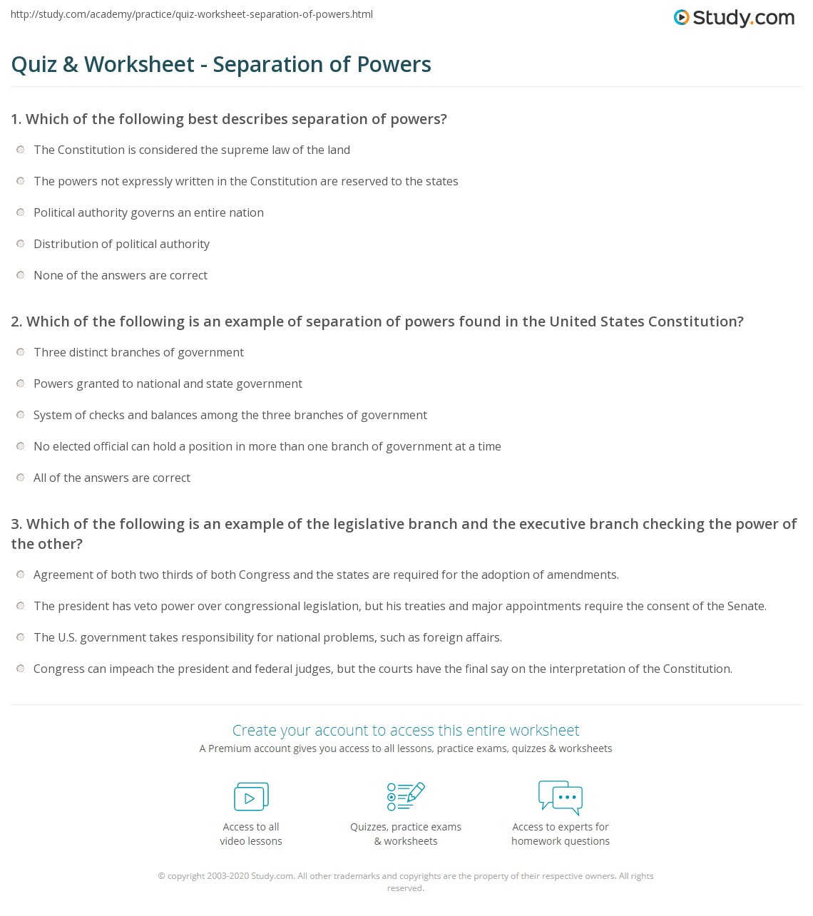 Print Separation of Powers: Definition & Examples Worksheet