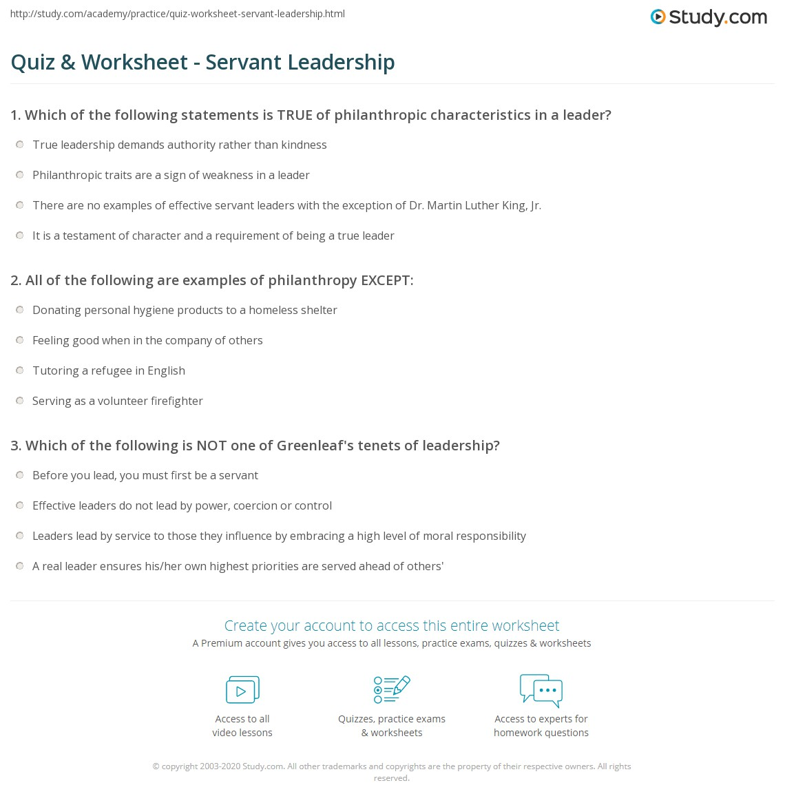 Printables Leadership Worksheets quiz worksheet servant leadership study com print the leader worksheet
