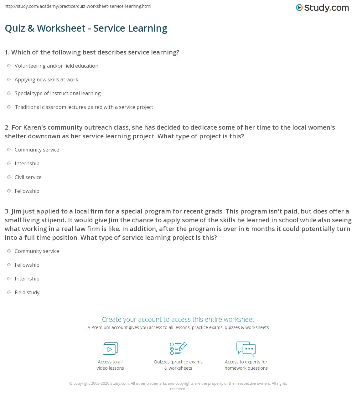 Quiz Worksheet Service Learning – Community Service Worksheet