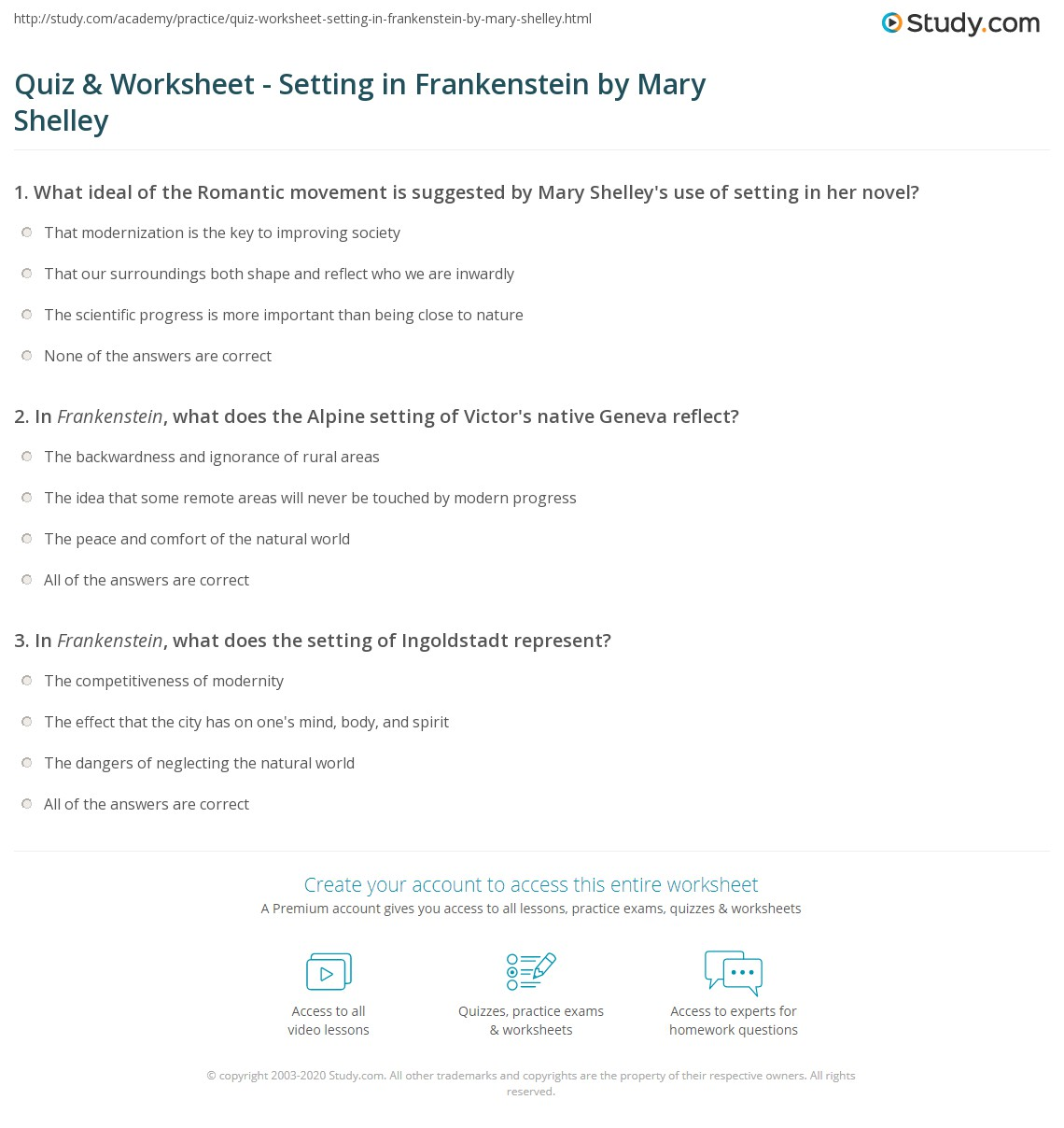 {Quiz Worksheet Setting in Frankenstein by Mary Shelley – Frankenstein Worksheets