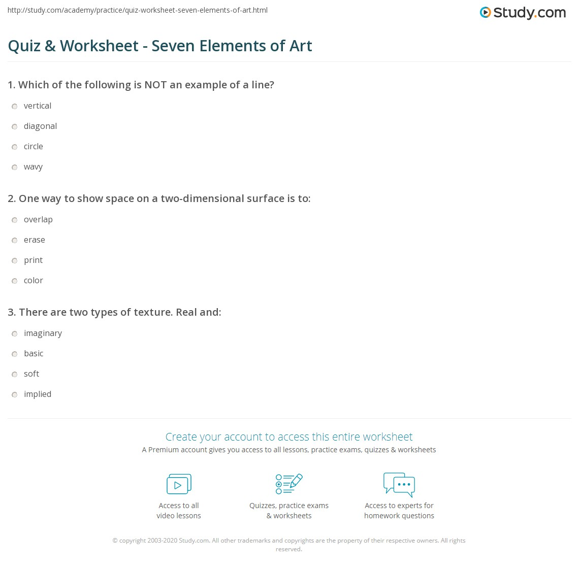 Worksheets Elements Of Art Worksheets quiz worksheet seven elements of art study com print what are the definition examples worksheet