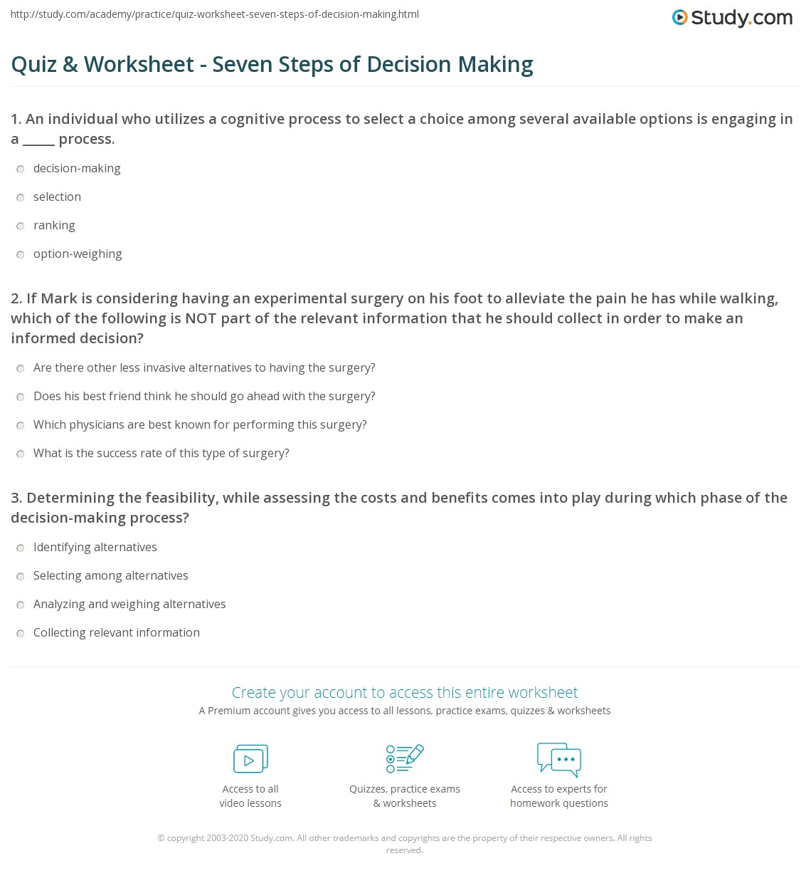 quiz worksheet seven steps of decision making com print the seven steps of decision making worksheet