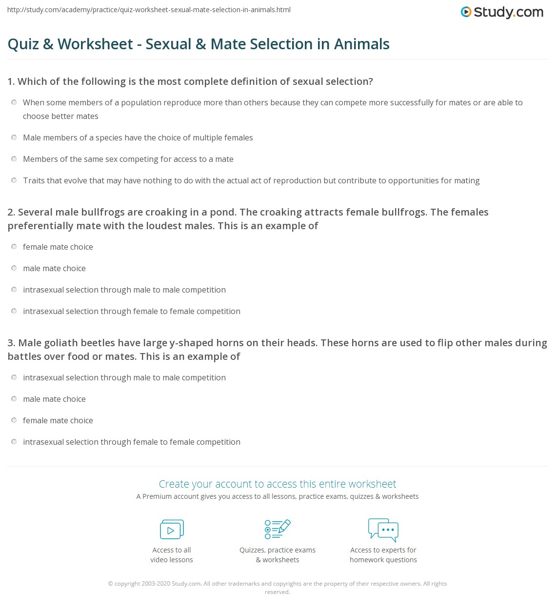 math worksheet : quiz  worksheet  sexual  mate selection in animals  study  : Math Mates Worksheets