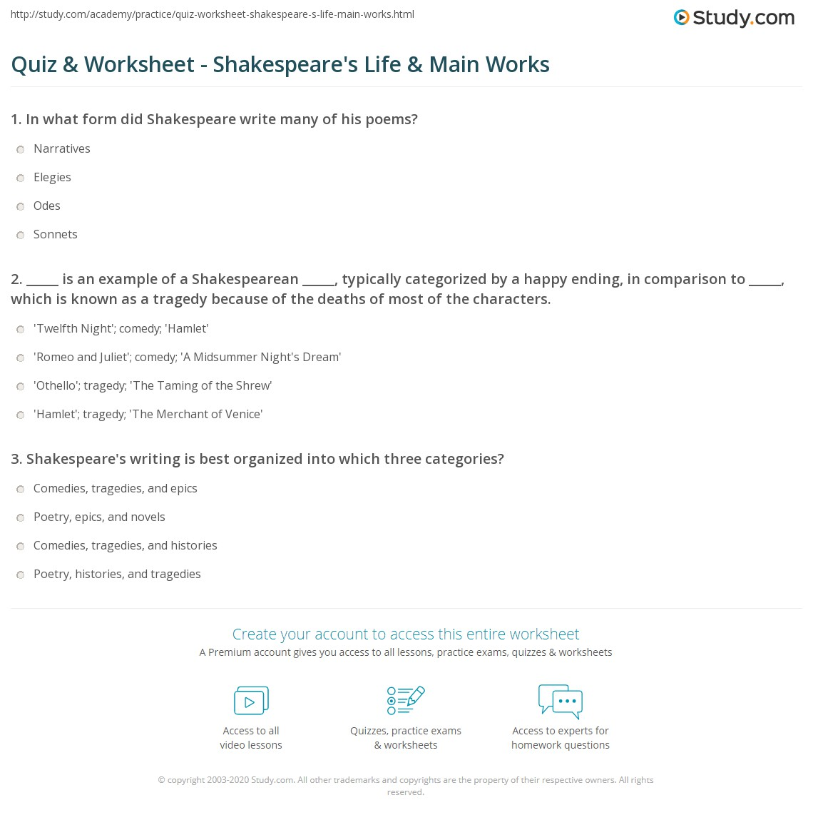 Quiz Worksheet Shakespeares Life Main Works – Shakespeare Worksheets