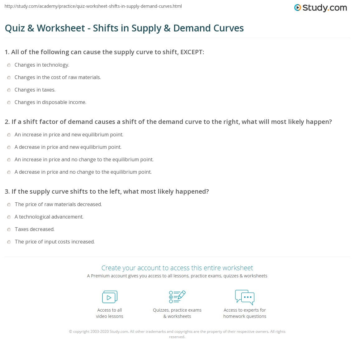 Quiz & Worksheet - Shifts in Supply & Demand Curves | Study.com