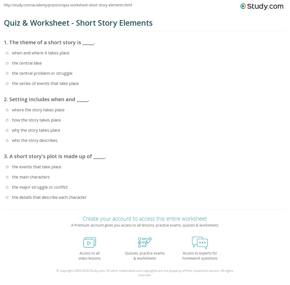Quiz Worksheet Short Story Elements – Story Elements Worksheets