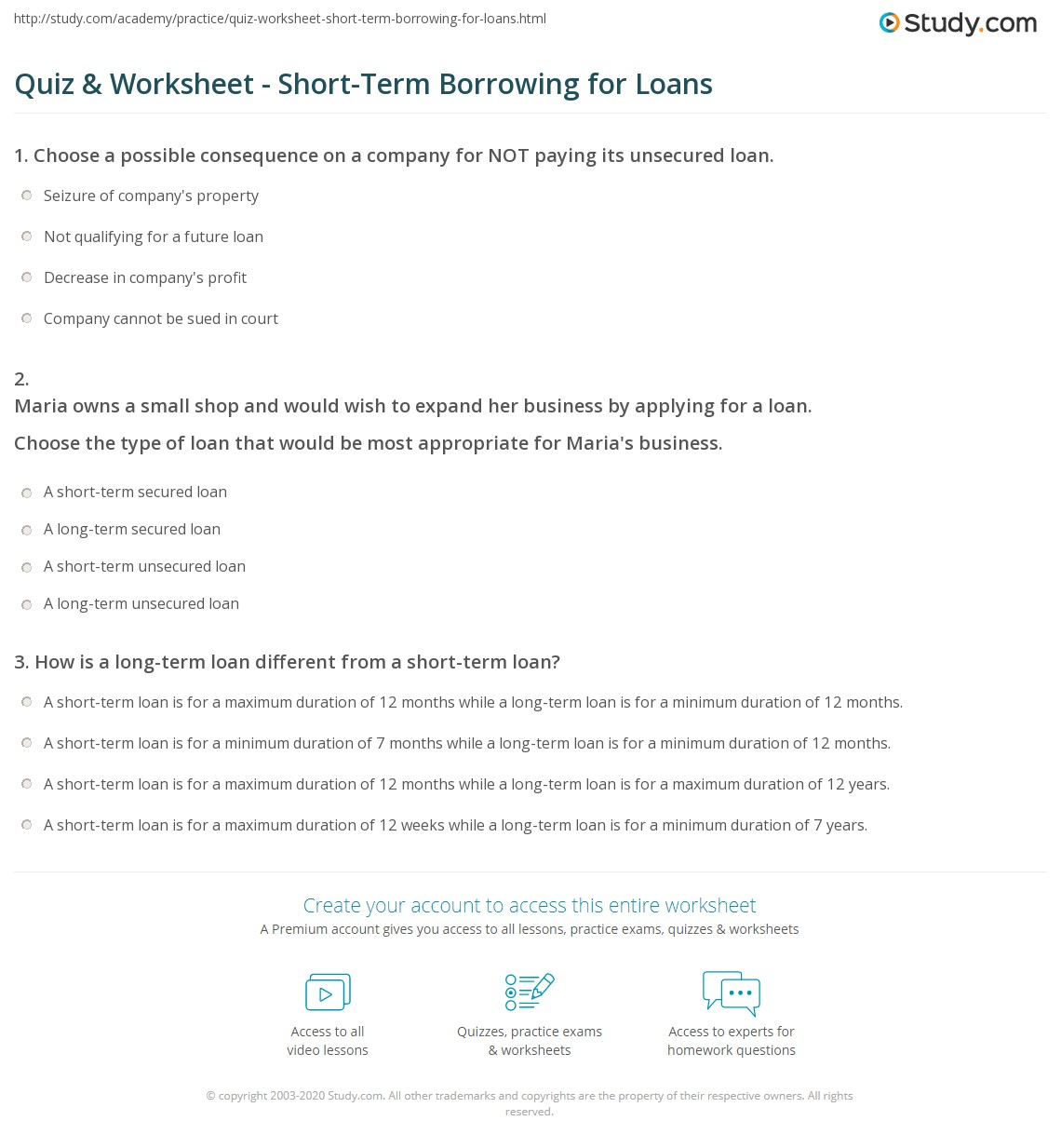 Quiz & Worksheet - Short-Term Borrowing for Loans | Study.com