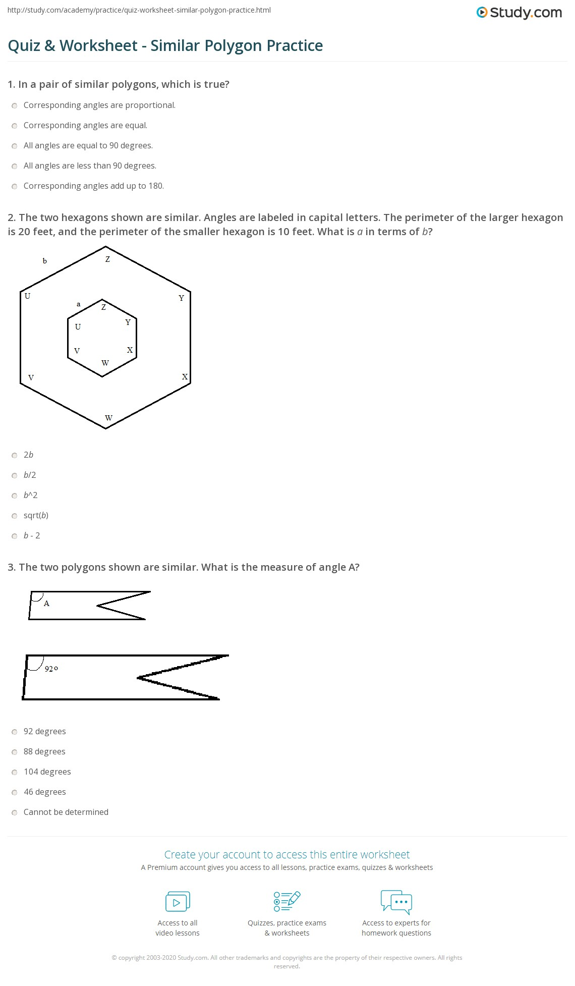 worksheet Polygon Worksheets quiz worksheet similar polygon practice study com 1 the two hexagons shown are angles labeled in capital letters perimeter of larger hexagon is 20 feet perimeter