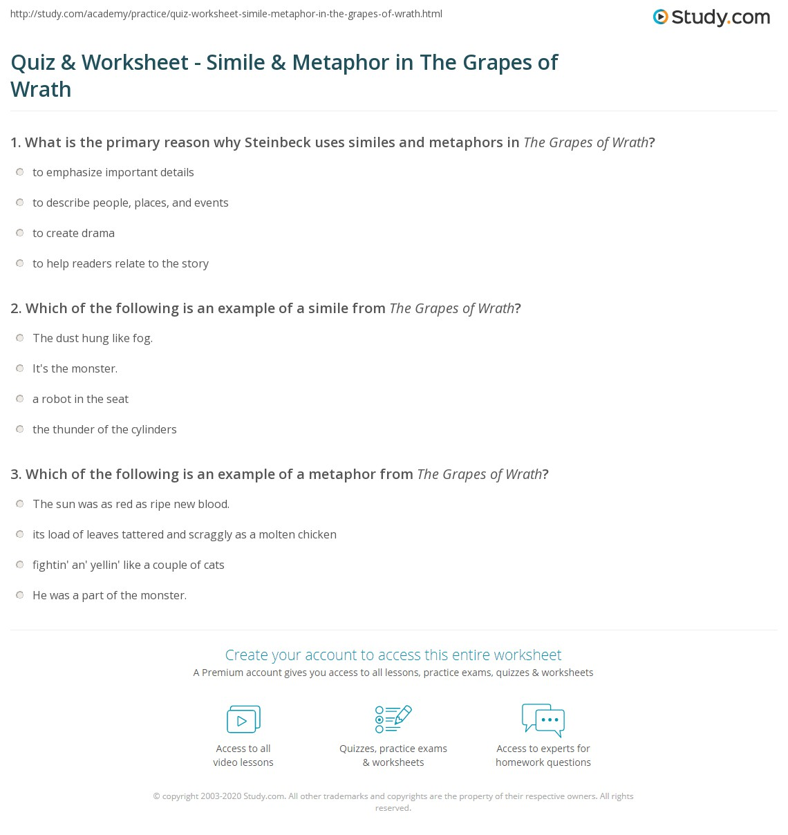 Quiz Worksheet Simile Metaphor in The Grapes of Wrath – Metaphor and Simile Worksheet