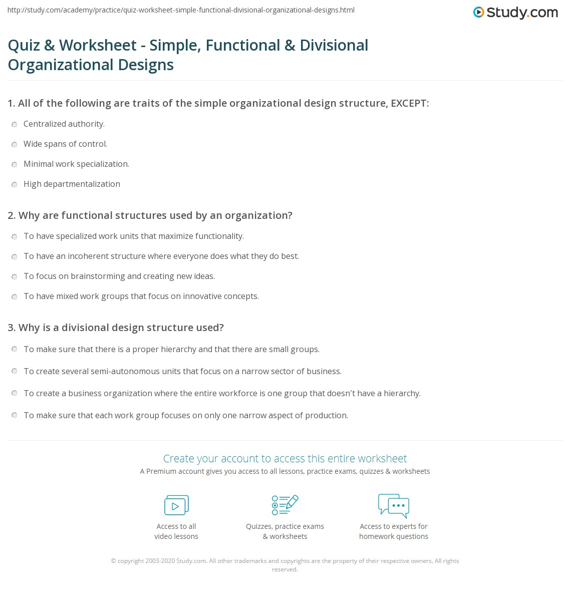Quiz Worksheet Simple Functional Divisional