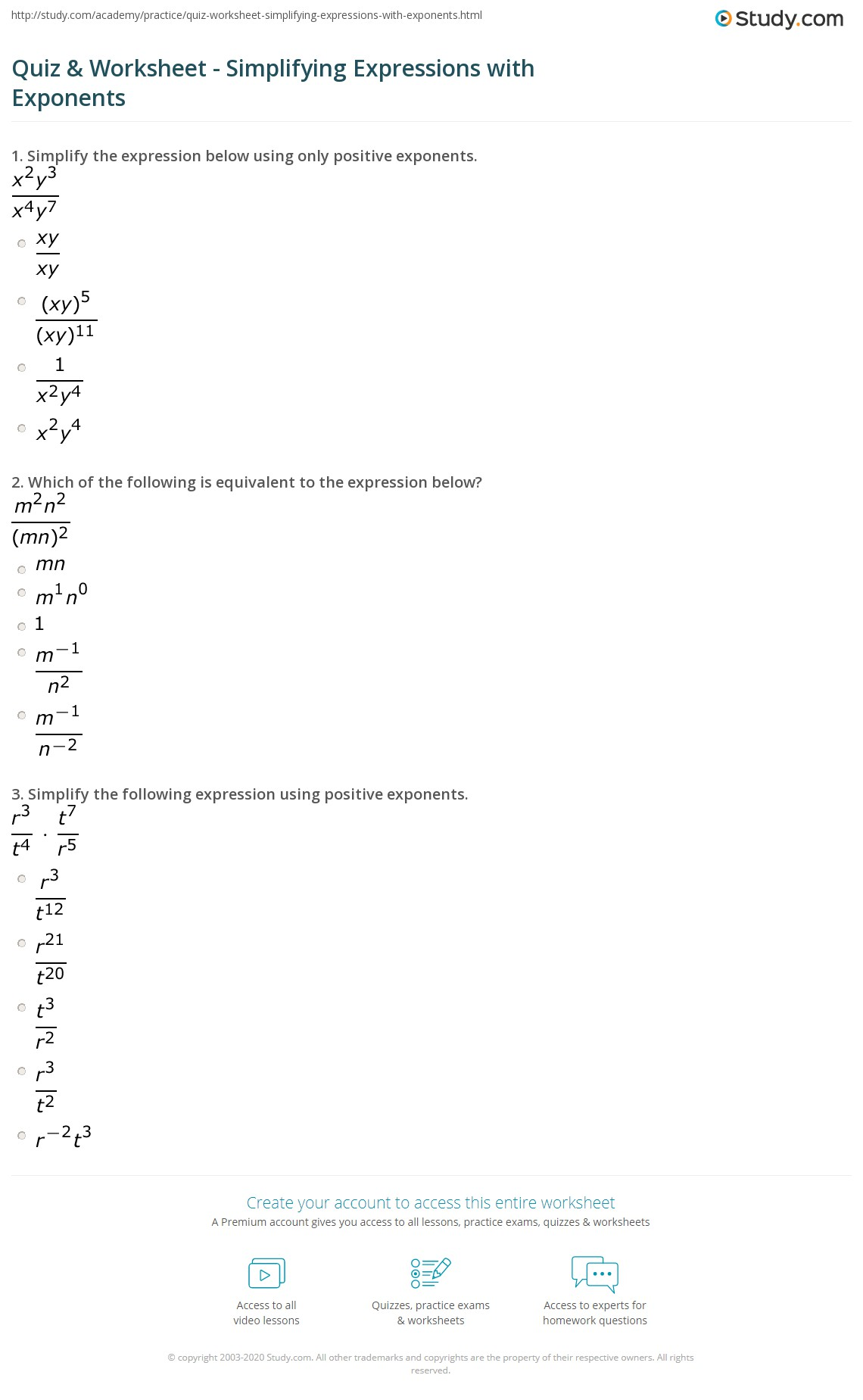 Quiz Worksheet Simplifying Expressions with Exponents – Exponent Worksheet