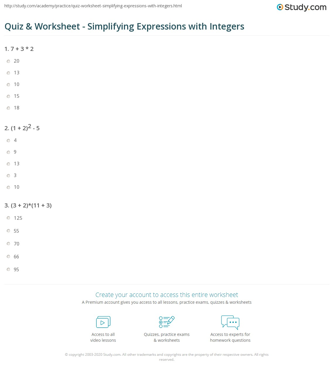 Quiz Worksheet Simplifying Expressions with Integers – Math Integers Worksheets Grade 7
