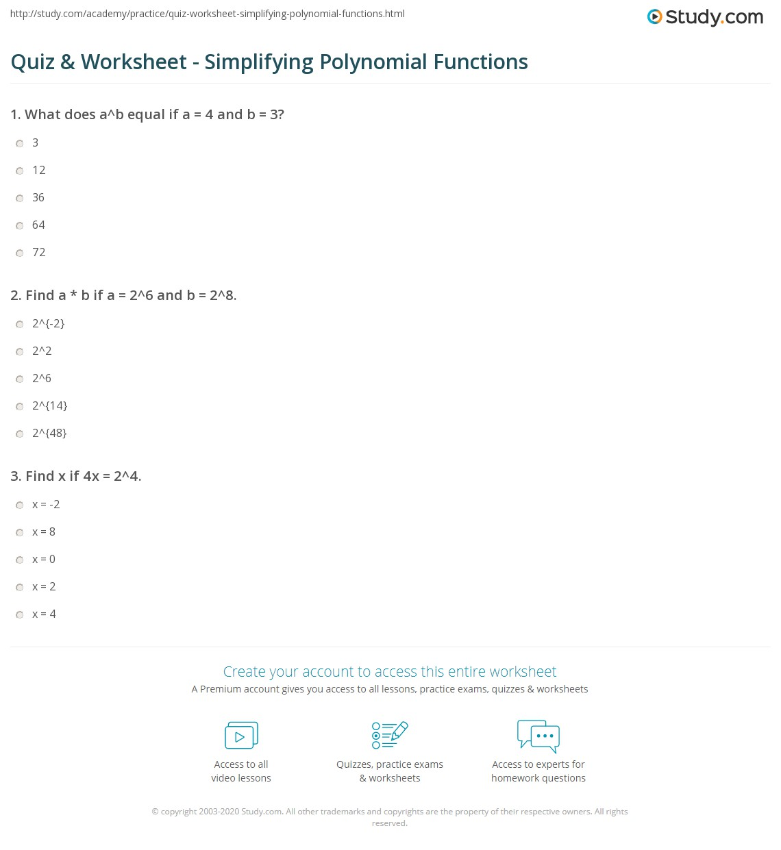 Print Polynomials Functions: Exponentials And Simplifying Worksheet How To  Factor Large Degree