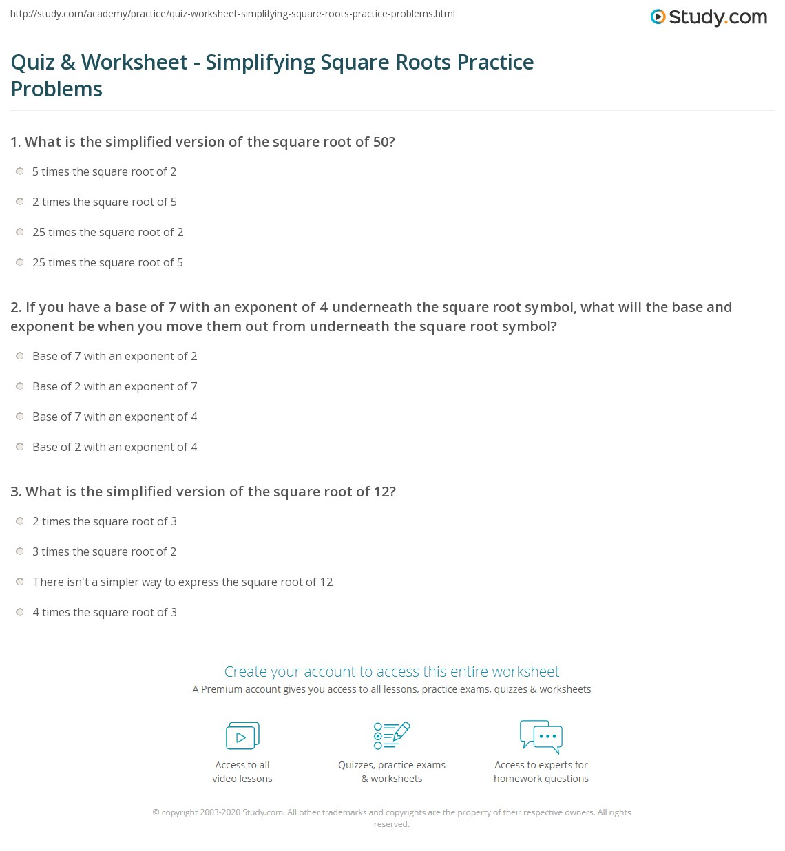 Quiz & Worksheet - Simplifying Square Roots Practice Problems