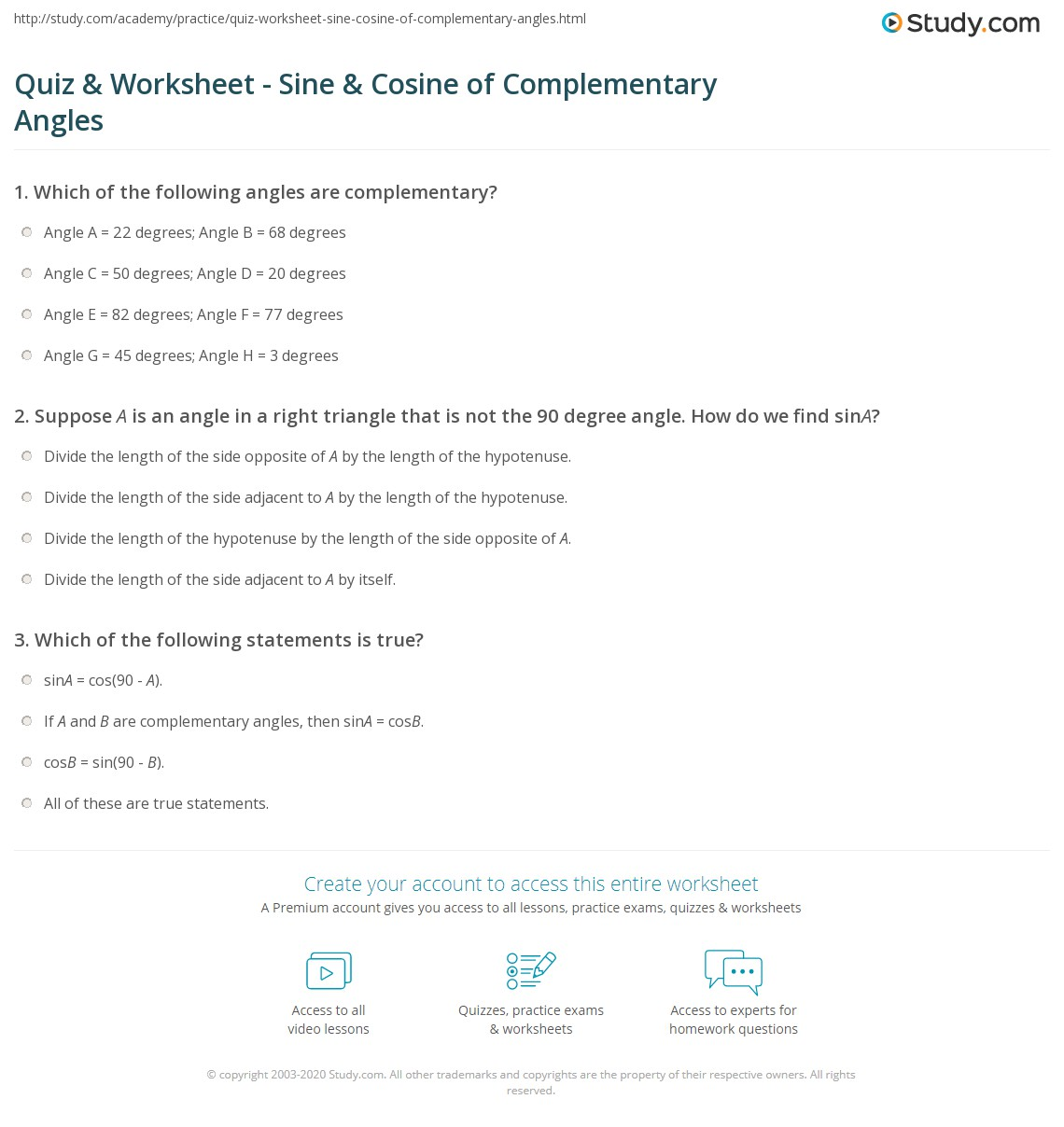 Quiz & Worksheet - Sine & Cosine of Complementary Angles | Study.com