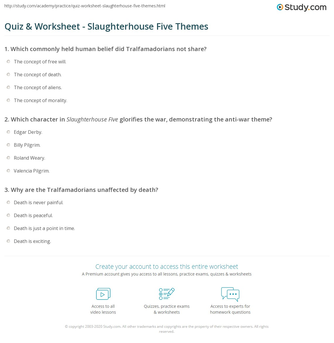 quiz worksheet slaughterhouse five themes com print themes in slaughterhouse five worksheet