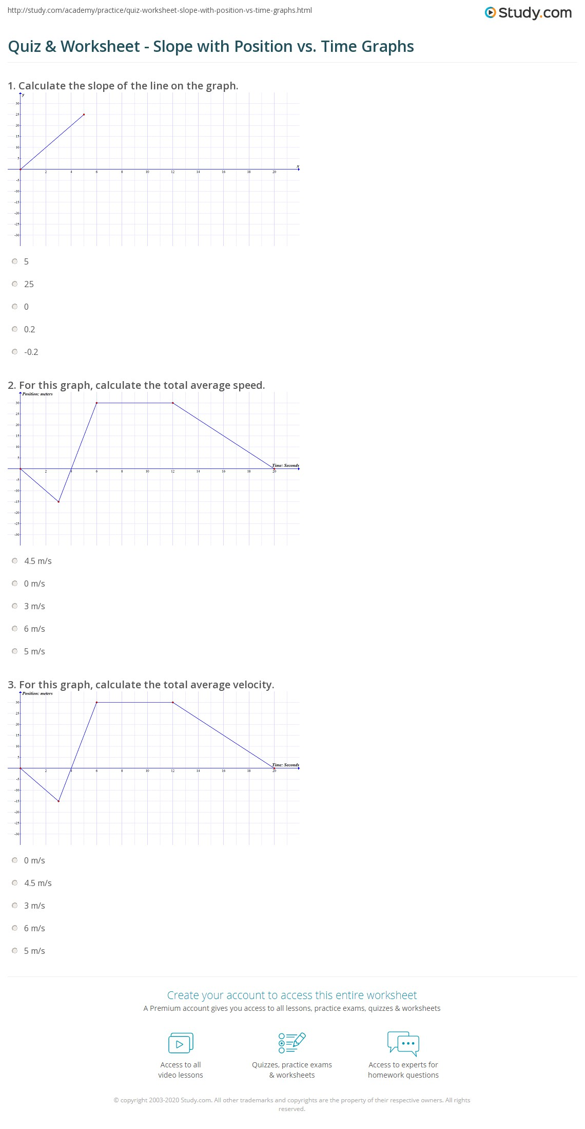 Quiz Worksheet Slope with Position vs Time Graphs – Position Time Graph Worksheet