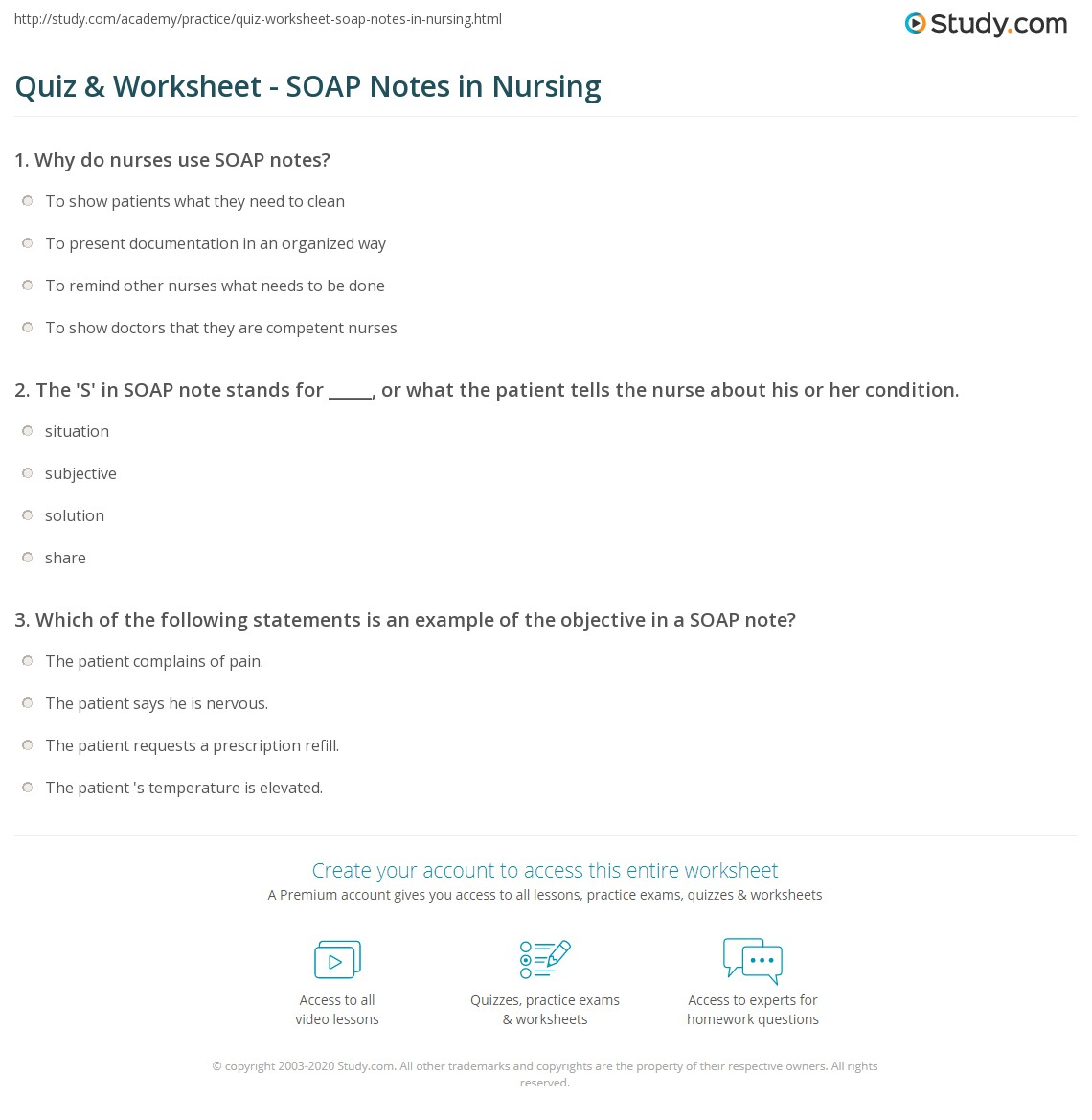 Quiz Worksheet SOAP Notes in Nursing – Soap Note Example