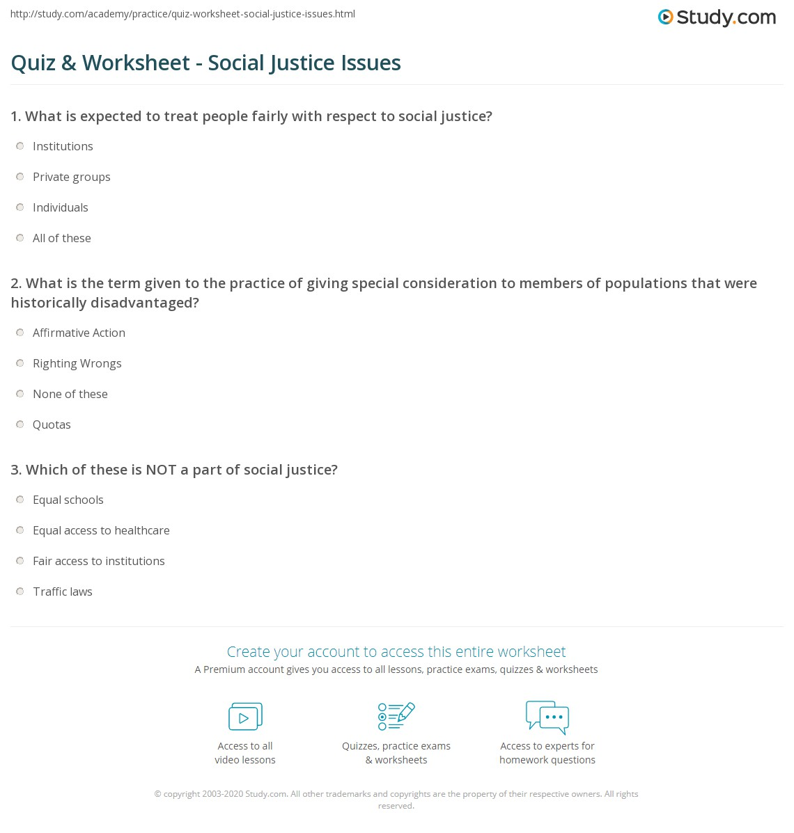 Quiz Worksheet Social Justice Issues – Worksheets on Respect