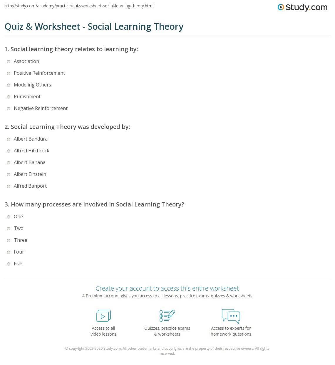 Psychology Learning Theories Essay Ipgprojecom Quiz Worksheet Social Learning Theory