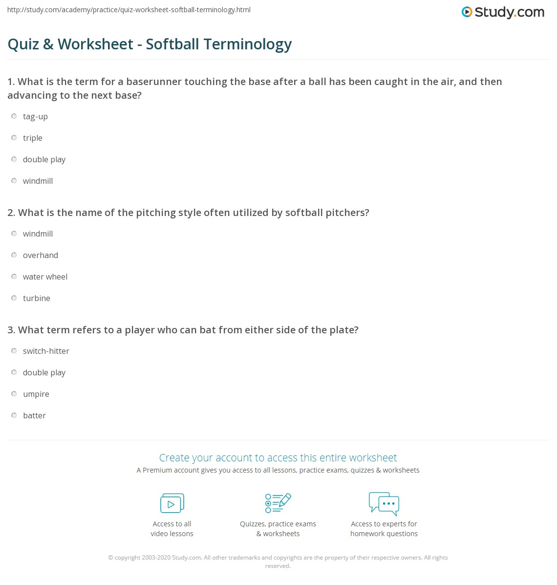 quiz worksheet softball terminology. Black Bedroom Furniture Sets. Home Design Ideas
