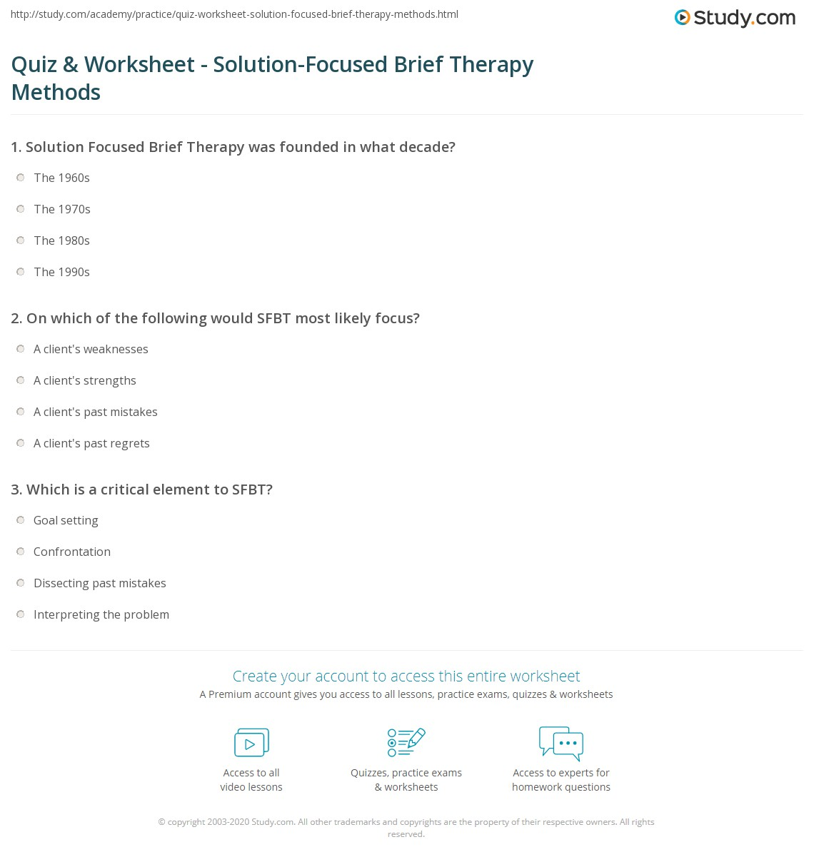 Quiz Worksheet SolutionFocused Brief Therapy Methods – Solution Focused Therapy Worksheets