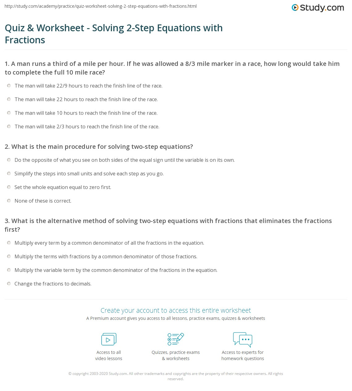 Quiz Worksheet Solving 2Step Equations with Fractions – 2 Step Equation Worksheet