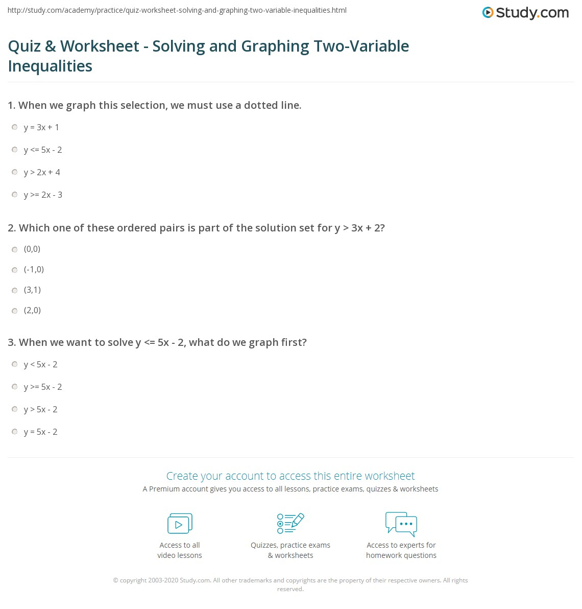 Quiz Worksheet Solving and Graphing TwoVariable Inequalities – Solve and Graph Inequalities Worksheet