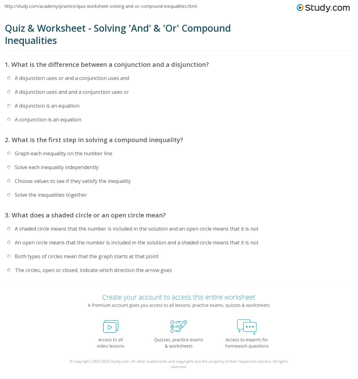 Quiz Worksheet Solving And Or Compound Inequalities – Inequalities on a Number Line Worksheet